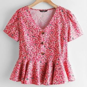 Shein red floral ditsy peplum top short sleeve